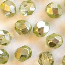 6mm Fire Polished, Silvered Light Peridot - 25